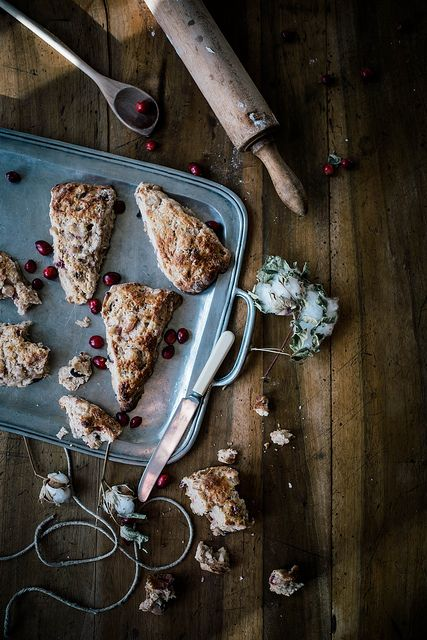 roasted pear & cranberry chocolate chunk scones by Beth Kirby