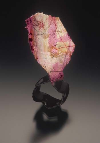 Jennifer Hall  Petal  Ring in copper, resin, paper, paint, graphite & colored pencil