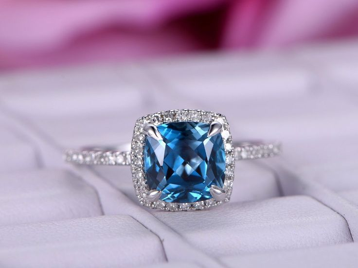 Cushion London Blue Topaz Engagement Ring Pave Diamond  Wedding 14K White Gold 7mm