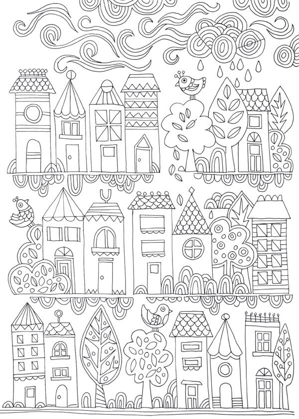 FREE COLOURING POSTER Tiny Town Adult Colouring PagesKids