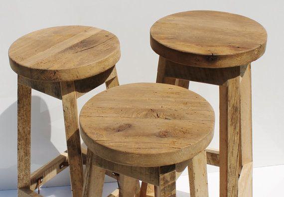 Tabouret Grange récupéré rustique bois brut w/Round Top