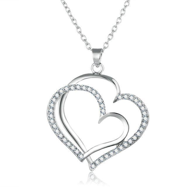 Новый Серебряный Позолоченный Романтической Свадьбы Горный Хрусталь Сердце Кулон Ожерелье для Женщин Мода Выдалбливают Boho Choker Jewelry