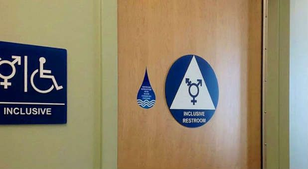 A gender-neutral restroom sign. The White House has opened its first gender-neutral restroom.