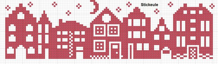 Stickeules houses cross-stitch - free