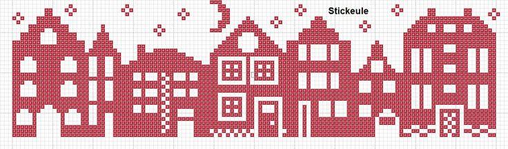 Stickeules houses cross-stitch - free