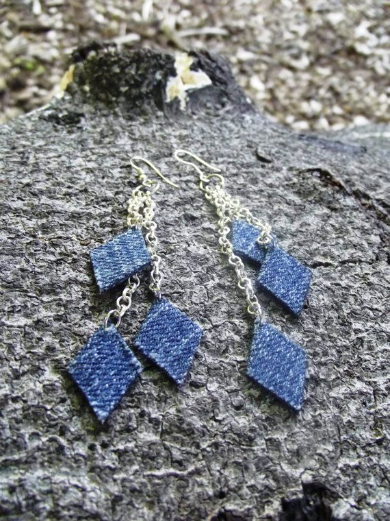 Denim Earrings- Diamond Chain Denim Jean Earrings on SALE