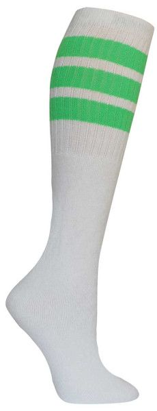 White knee high tube socks with neon green stripes. Fits all sizes (no heel).