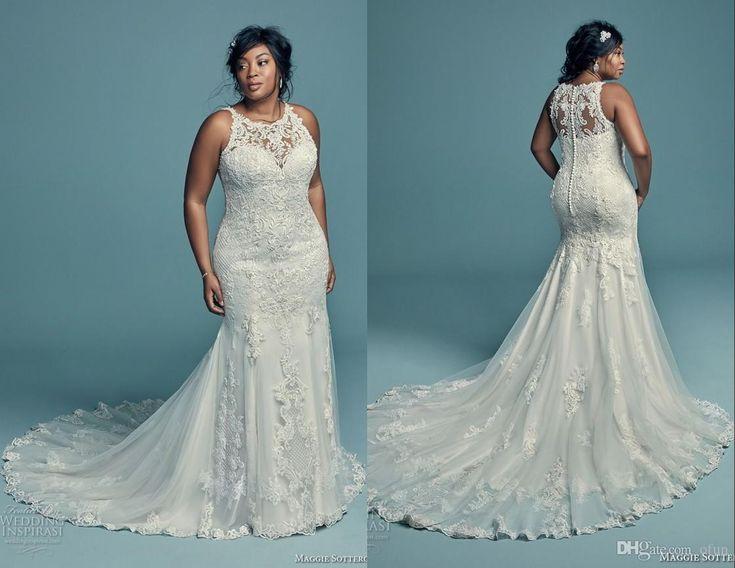 Elegant Lace Applique Plus Size Wedding Dresses Mermaid Sleeveless Sweep Train Bridal Gowns Summer African Button Back Bride Dress Cheap Wedding Dresses Discount A Wedding Dress From Ofun, $143.72| DHgate.Com