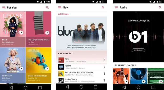 Apple Music, Android için Google Play'de yerini aldı