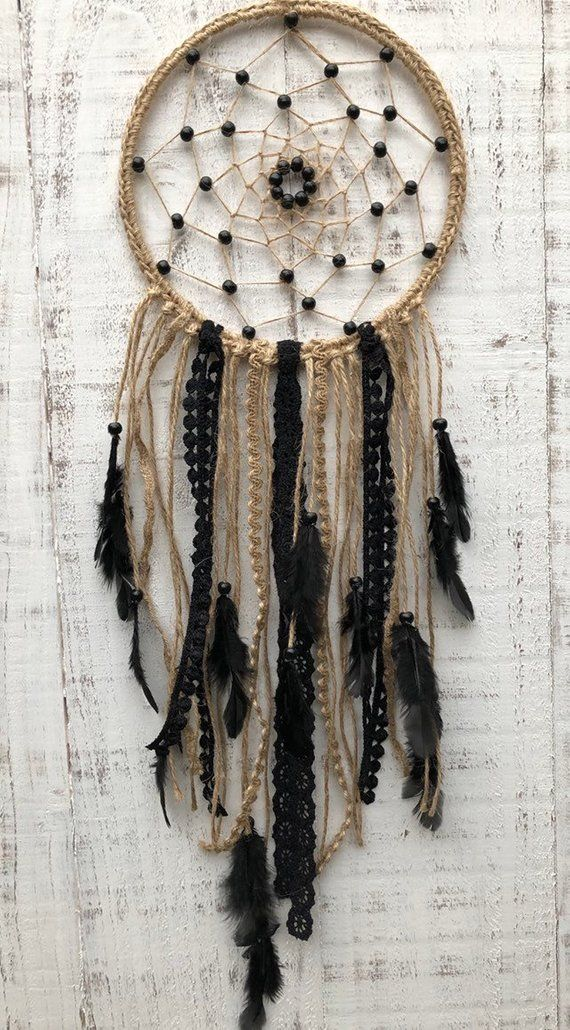Bead Dream Catcher Black Feather Crafts Handmade Home Hanging Gifts Black