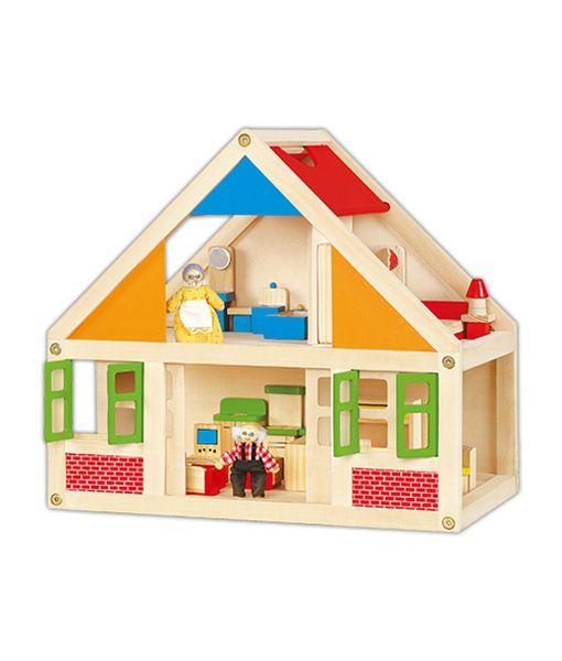 Căsuță de păpuși cu 5 tipuri de mobilă și 2 păpuși de lemn