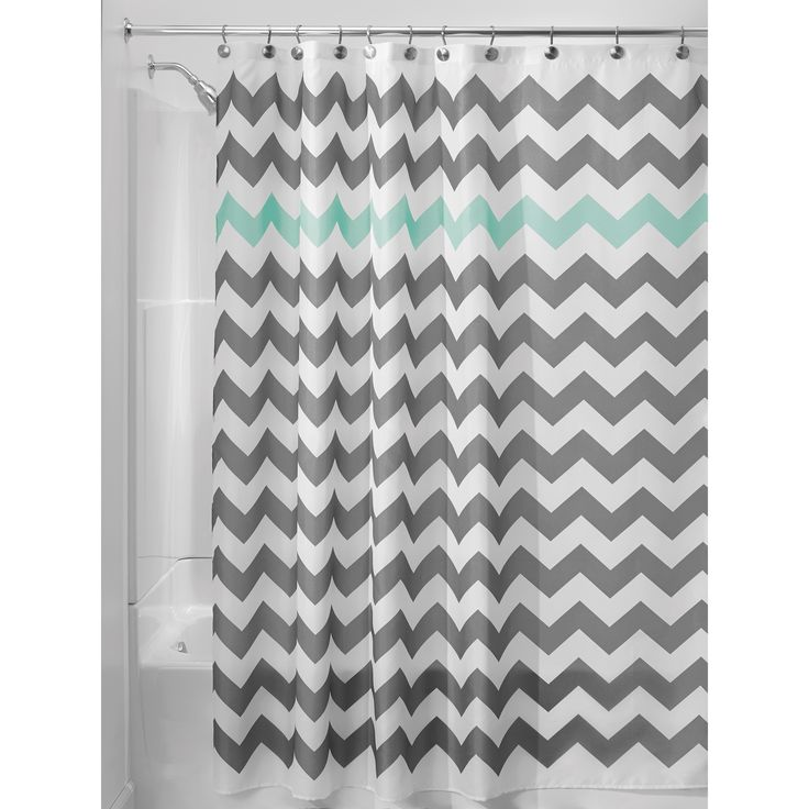 "Give your bath a modern update with the InterDesign Chevron Shower Curtain. This fabric curtain has a bright and airy look in fresh shades of grey and white with a pop of sea green. Buttonhole openings for hanging. 72"" x 72"""