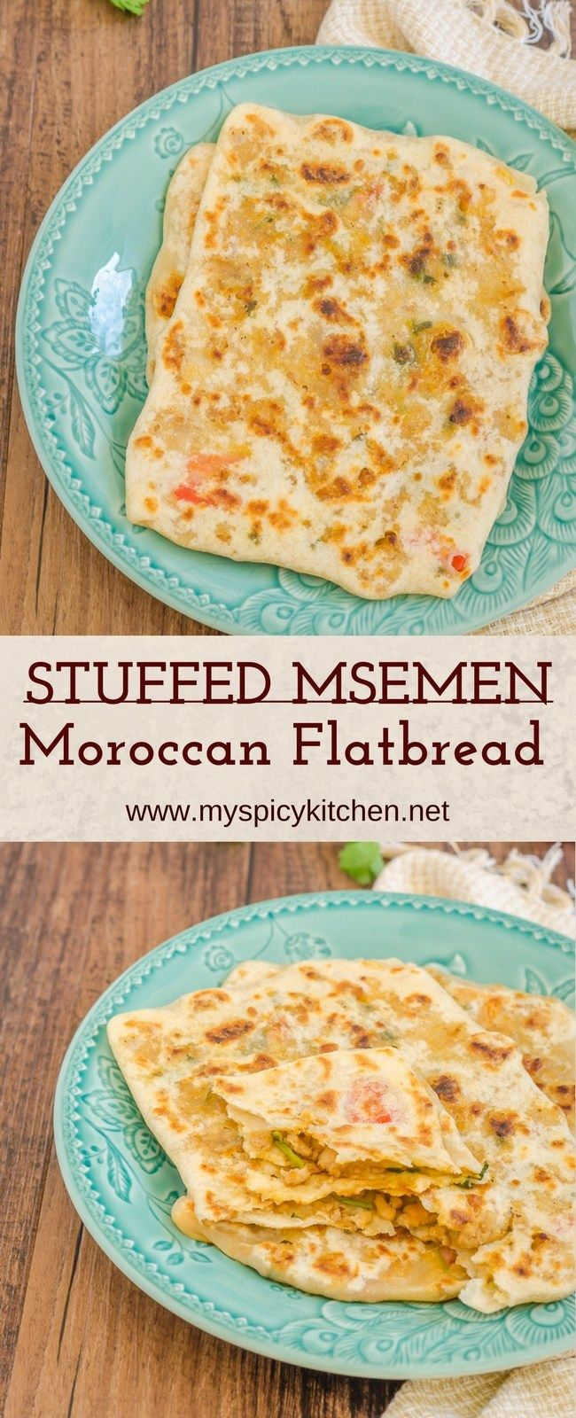 Ground chicken stuffed msemen is a Moroccan stuffed flatbread.  It is very soft and usually served for breakfast or for tea.  #StuffedFlatbread #MoroccanStuffedFlatbread #MoroccanFood