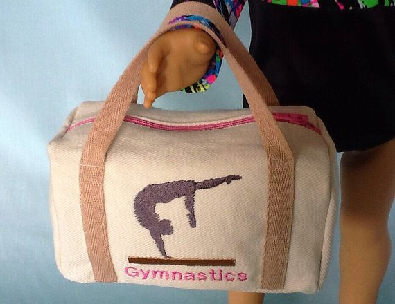 This is the perfect accessory to complete your dolls gymnastics outfit. The duffle bag fabric is a light colored cotton denim and the straps