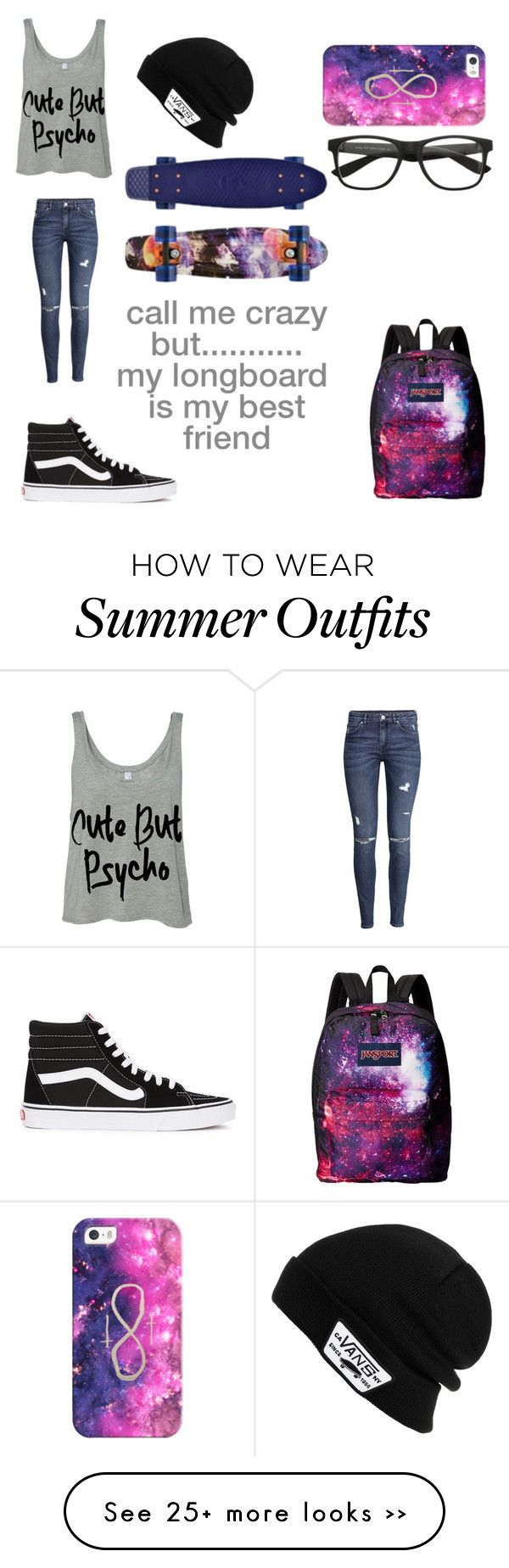"""CUTE BUT PSYCHO"" by candygirl156 on Polyvore featuring H&M, Casetify, Vans and JanSport"