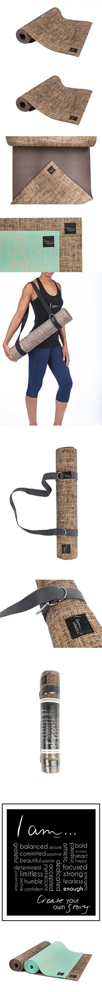 I am... Athletics: Natural Jute Exercise/Yoga Mat - Eco-Friendly, Durable, Extra Long with Carry Strap (Dark Brown)