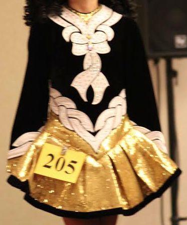 Gorgeous Gold Celtic Art Irish Dance Dress Solo Costume For Sale