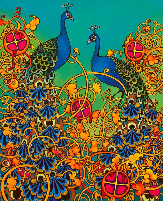 Pyschedelic+Peacocks+Painting+Fine+Art+ARCHIVAL+by+RuthCadioli,+$130.00