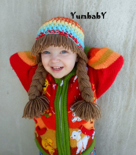Cabbage patch Hat Pigtail Wig Colorful Photo Prop for Girls  58480f7ece1