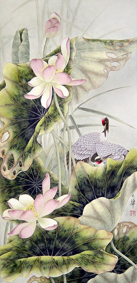 Lou Dahua Chinese Artist~Cranes and lotus: