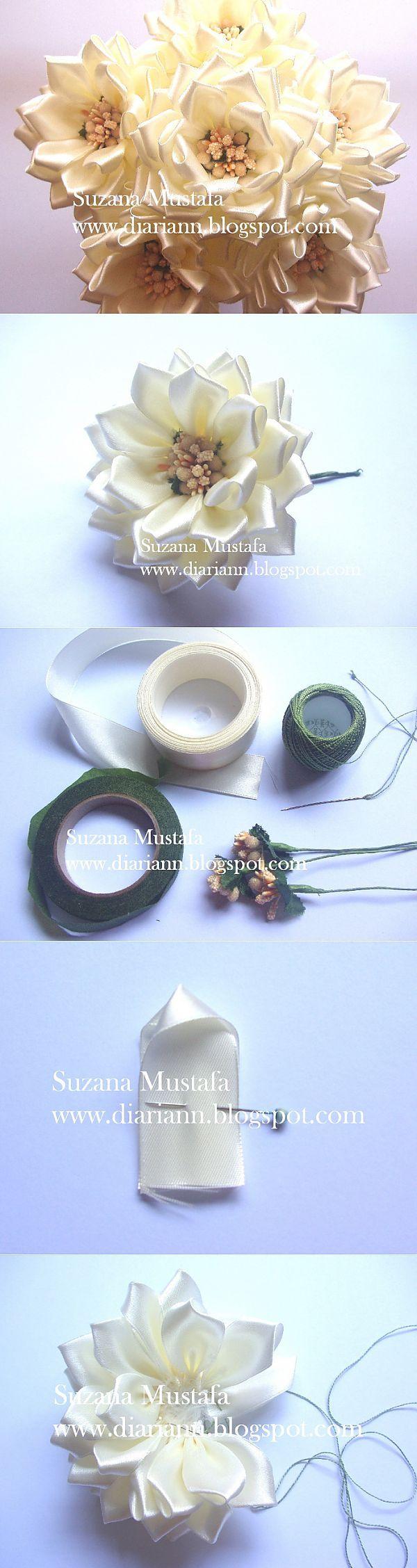 Цветы из шелковых лент от Suzana Mustafa. Идеи и мастер-класс.