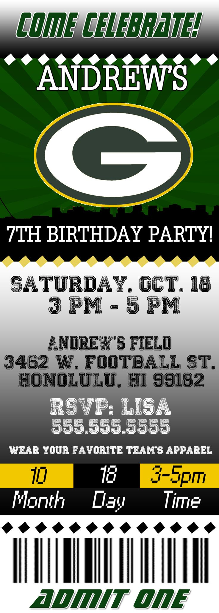 NFL Green Bay Packers Ticket Birthday Invitation