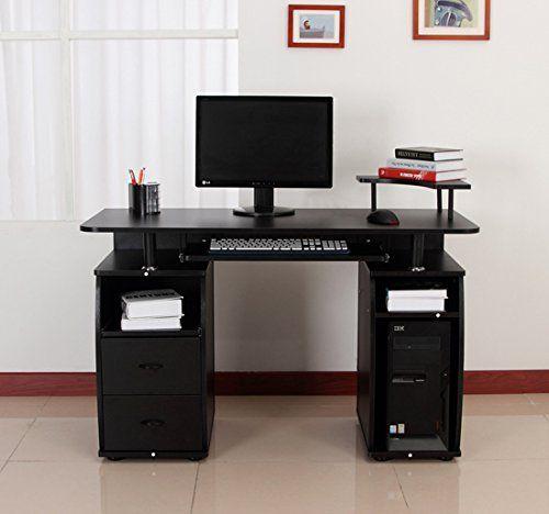 Bureau pour ordinateur table meuble PC informatique multimédia en MDF noir neuf: 2 tablettes à gauche et au milieu pour la imprimante et…