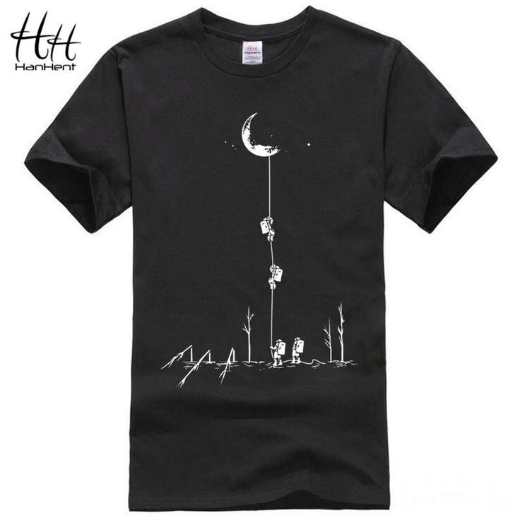 2017 Europe Style T shirts Men Summer Fashion Climb To The Moon Printed