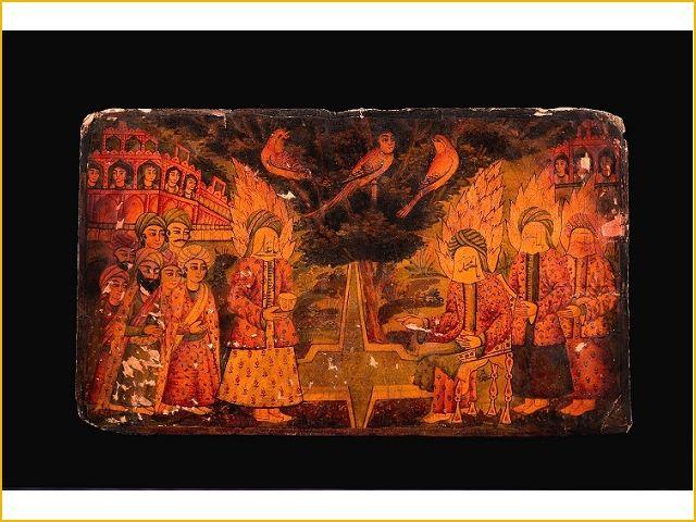 Falnameh; de profeet Mohammed, imam Ali, Hassan en Hussein in het paradijs - Collectie Tropenmuseum