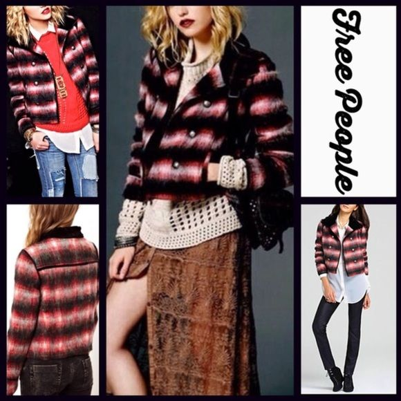 Free People Plaid Military Bomber Jacket (Small) Free People plaid military bomber jacket! New without tags. Wool with velvet trim on the collar and sleeves. Super warm and comfortable. Never worn! Free People Jackets & Coats