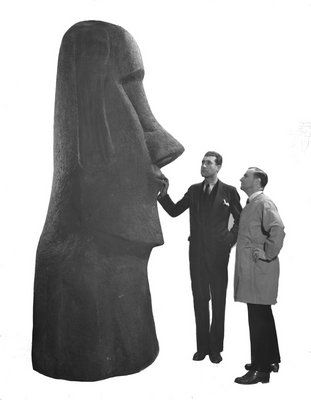 American Museum of Natural History - cast of Easter Island statue, 1935