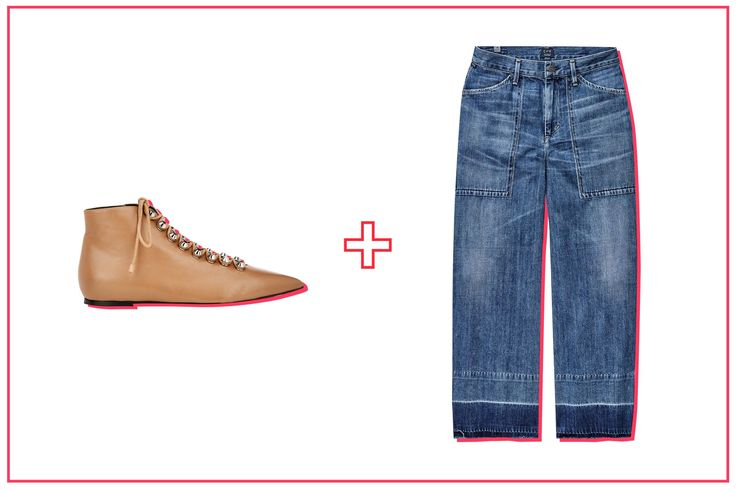 The Best Ankle Boot & Jean Pairings, Period #refinery29  http://www.refinery29.com/ankle-boots-with-jeans#slide-5  Dip-dyed hems are all the rage now, calling all the more attention to your ankles. A flat shoe keeps the focus on the standout denim. The hardware and elaborate closure out front makes these booties stand out on their own, too. ...