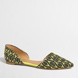 Factory graphic woven d'orsay flats