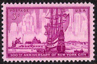 1953: Dutch Ship in New Amsterdam Harbor (ארצות הברית) (New York City 300th Anniversary Issue) Mi:US 647,Sn:US 1027,Yt:US 578