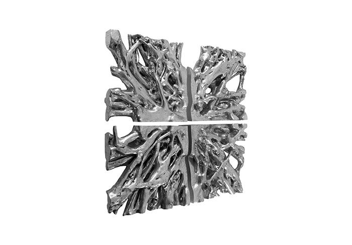 -Available thru MinorDetailsDesign.com - 60x60 -  Square Root Wall Art, Set of 4, Silver Leaf Overall