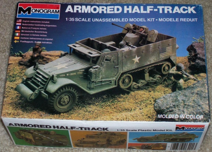 A Monogram Armored Half Track W/ M33 twin 50 cal AA gun mount model kit 1/32 | eBay