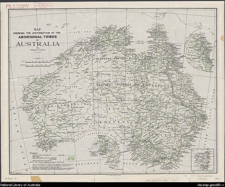 Tindale 1940 Map showing the distribution of the Aboriginal tribes of Australia [cartographic material]
