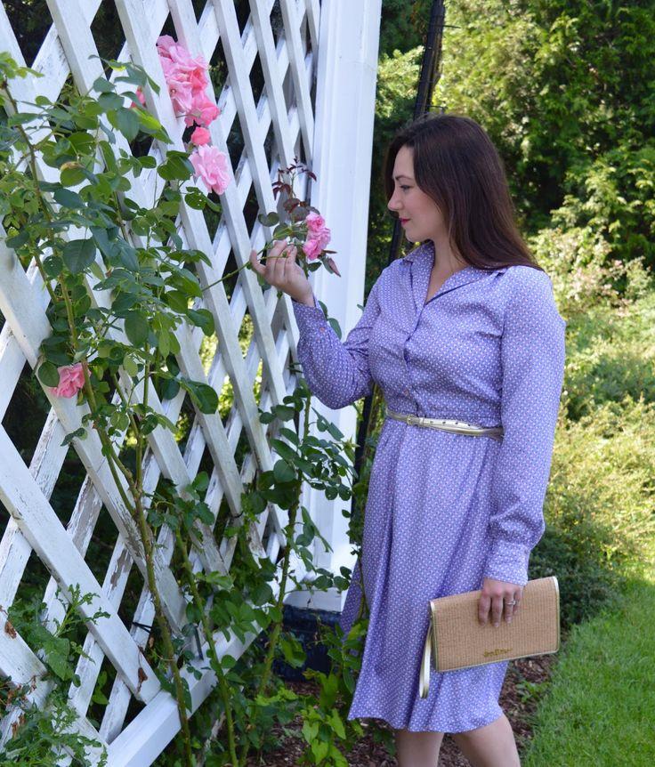 Celebrating this Life: Summer to fall dress. Vintage Holt Renfrew purple long sleeve dress