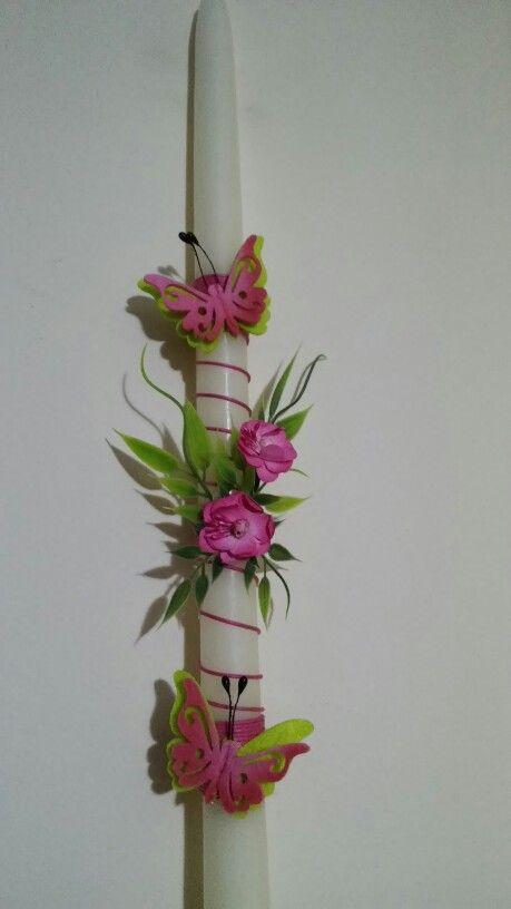 Λαμπαδα με φουξ λουλουδια και πεταλουδες...by Maraki.