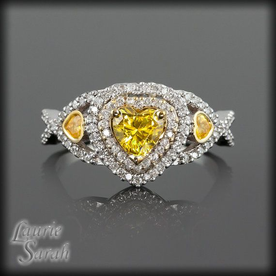 Heart Yellow Sapphire and Diamond Engagement Ring