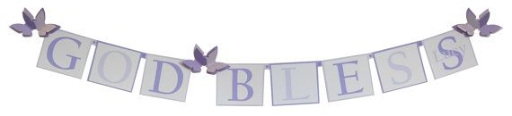Purple Baptism Decorations for Girls, Personalized  by SetToCelebrate