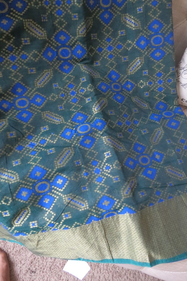 Dark green  cotton patola sari/saree by ZainabBoutique on Etsy