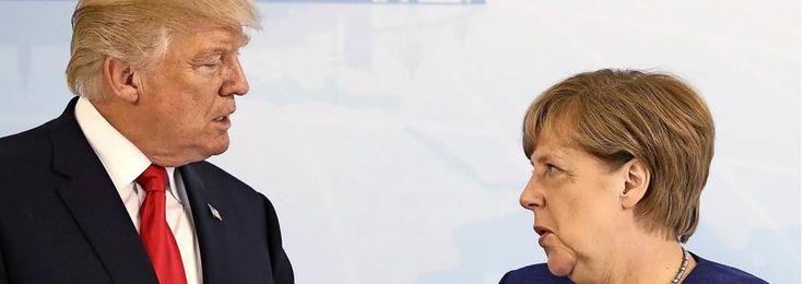 US-Präsident Donald Trump und Bundeskanzlerin Angela Merkel beim G20-Gipfel in Hamburg.