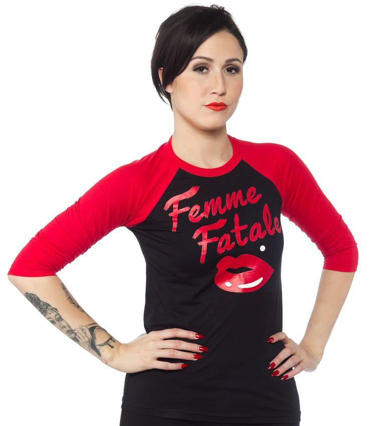 VIXEN FEMME FATALE RAGLAN TEE $34.00 #vixen #femmefatale #pinup