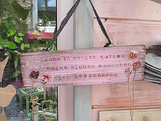 Schild *Komm in meinen Garten.......* von L(i)ebenswert auf DaWanda.com