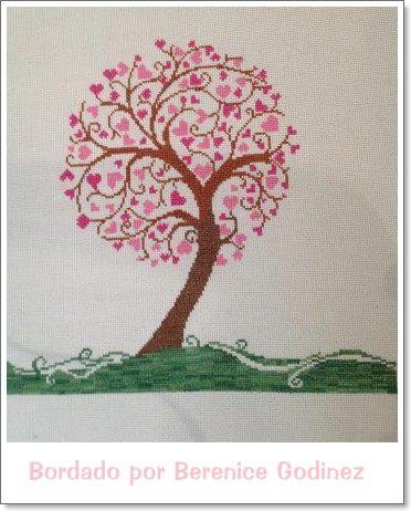 La Cute Artesana: Punto de Cruz: Árbol de corazones en punto de cruz                                                                                                                                                                                 Más