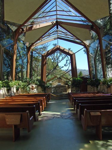Frank Lloyd Wright Glass Church - Wayfarers Chapel in Palos Verdes, CA.