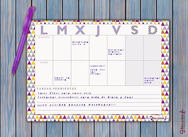 organizadores mensuales y semanales  2become1  http://2become1studio.blogspot.com.es/2014/06/freebies-organizador-mensual-y-semanal.html