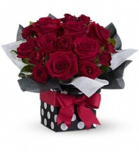 FDH Fifth Avenue Present   #Lush_red roses in a sophisticated polka-dot gift box all tied up with a brilliant red ribbon. Innovative, imaginative, impressive - puttin' on the ritz with a touch of glitz!