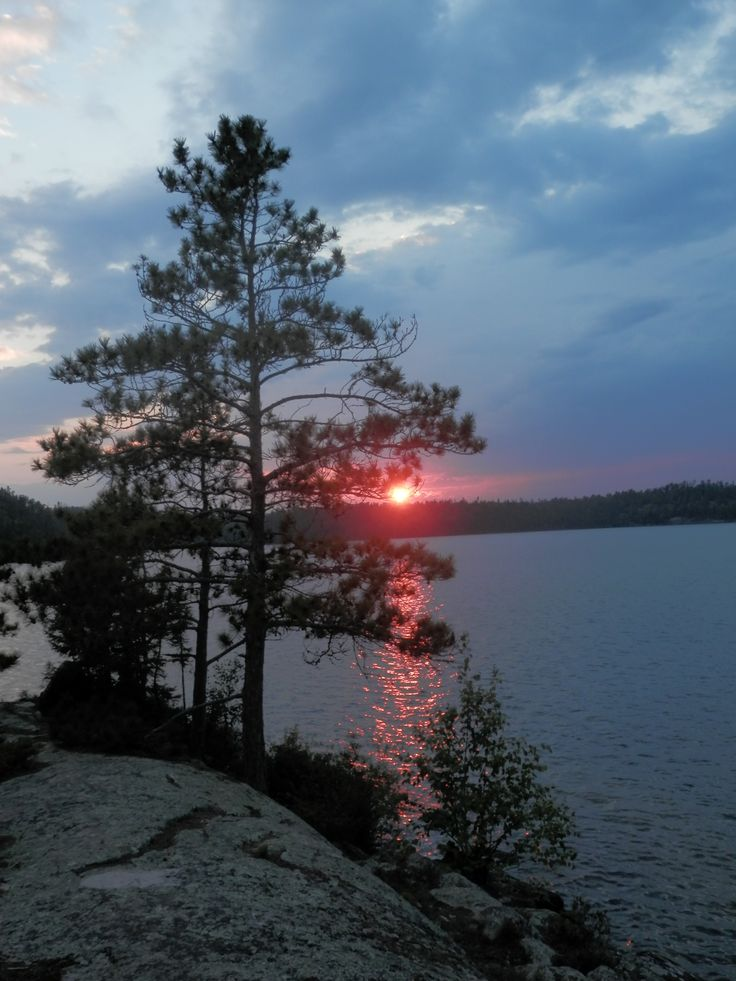 Sunset from the island campsite on Winnage Lake, ON